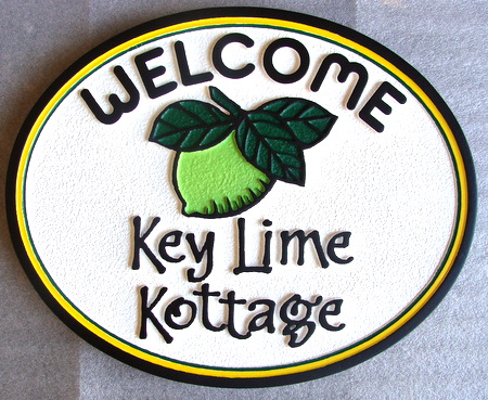 "L21814 - Florida Cottage Sign ""Key Lime Kottage"" with Key Lime"