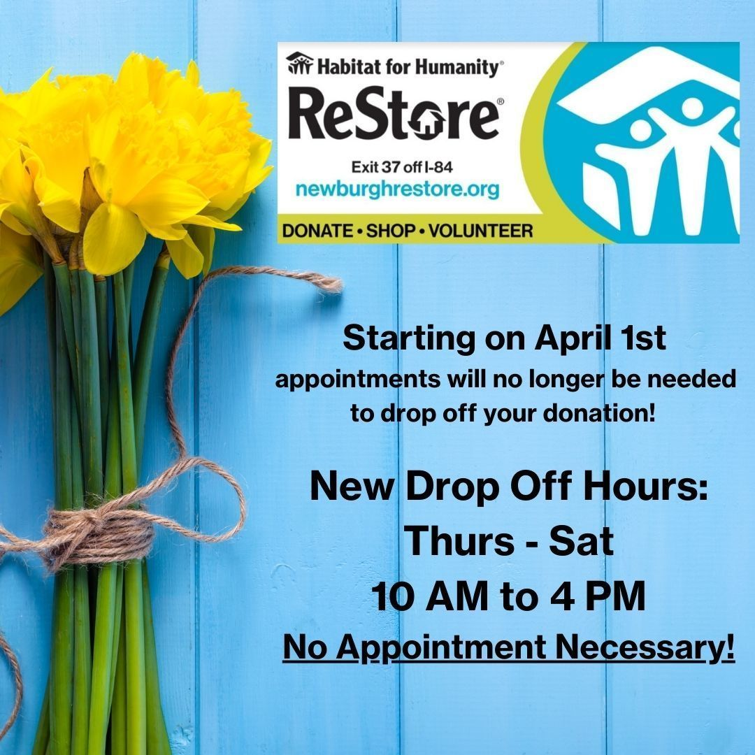 New Drop Off Hours For ReStore!