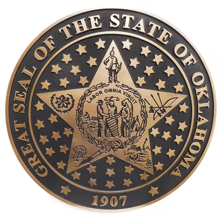 BP-1455- Carved Plaque of the Great Seal of the State of Oklahoma, Brass-Plated