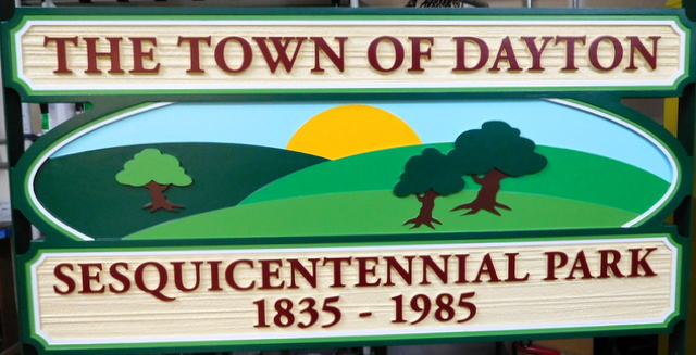 F15017 - Sandblasted, Wood Look, Carved HDU Sign for Town Sesquicentennial Park with Carved Landscape, Sun and Trees