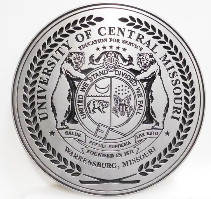 RP-1505 - Carved Plaque of Seal of the State of Missouri, for the University of Central Missouri, 2.5D Engraved Aluminum Plated