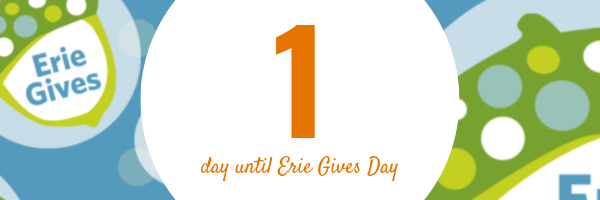 August 12, 2019 Erie Gives email reminder: 1 day until Erie Gives 2019!