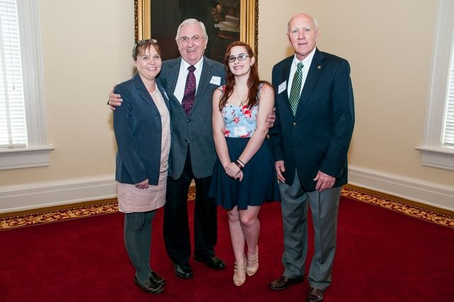 Reps. Joe Faust and Harry Shiver with Fairhope High School teacher, student