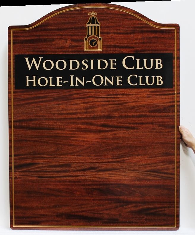 E14703-  Engraved Mahogany Wood Hole-in-One Wall Plaque for the Woodside Golf Club.