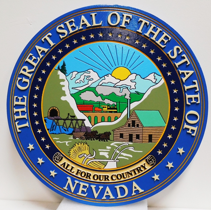 BP-1325 - Carved Plaque of the Great Seal of the State of Nevada, Engraved 2.5-D Artist-Painted