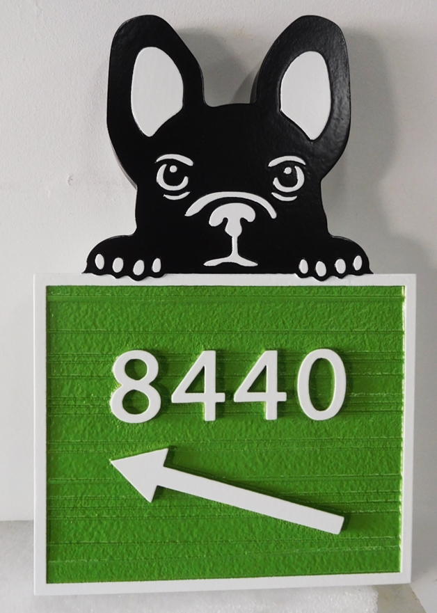 I18603 - Carved High-Density-Urethane (HDU)  Address Number Sign, with Cute Dog Peering Over Address Plaque