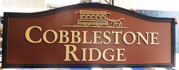 "K20119 -  Carved HDU ""Cobblestone Ridge"" Entrance Sign, 2.5D"