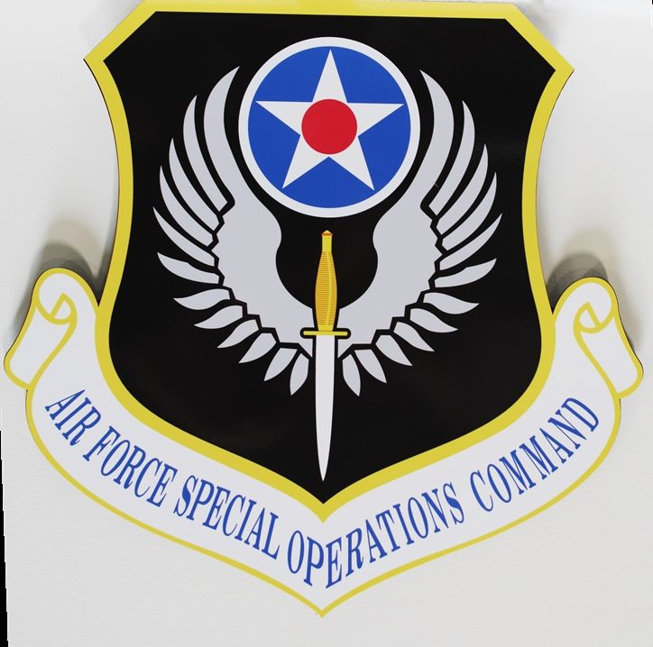 LP-3601 - Carved Plaque of the Crest of the Air Force Special Operations Command, 2.5-D Artist-Painted