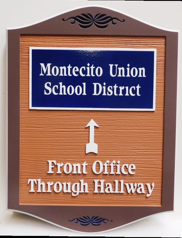 FA15666 - Carved HDU Entrance and wayfinding interior sign for the Montecito Union School District, 2.5-D