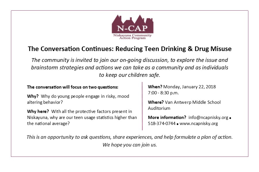 Upcoming Community Discussion - Reducing Teen Drinking and Drug Misuse!