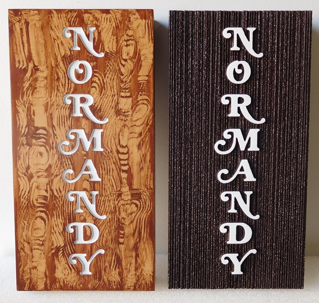 "SB28956 - Carved and Engraved Carved High-Density-Urethane Signs ""Normandy"" for a Store Display of the Brand"