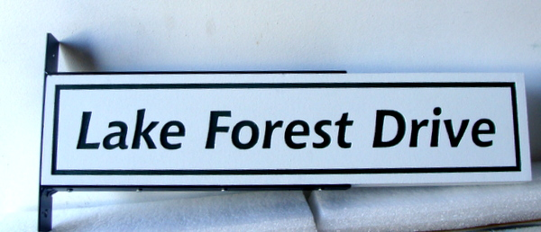 H17046 - Carved Engraved HDU Street Name Sign, Lake Forest Drive, with Steel Side Bracket for Mounting on a Post
