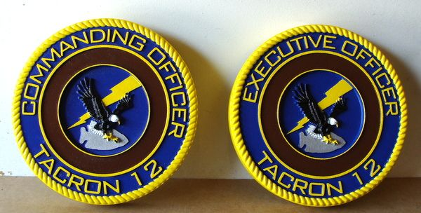 JP-1660 - Carved  Plaques of Crest/Emblems  for Navy TACRON 12 Commanding Officer,   Stained Cedar Wood and Artist Painted