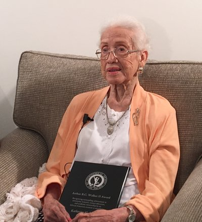 Katherine Johnson, the ASP's innaugural recipient of the Arthur B.C. Walker II award, and NASA mathematician, dies at 101