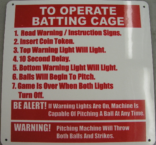 Batting cage sign