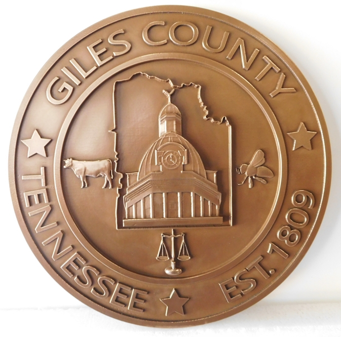 CP-1230 - Carved Plaque of the Seal of Giles County,Tennessee, 3-D Relief, Bronze-Plated