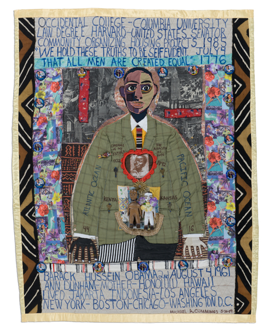 'A Young Obama,' made by Michael Cummings, made in New York, 2009, machine stitched, painted and embellished, 78 x 60""