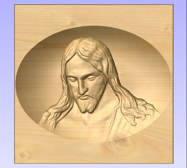 M3977 - Carved Maple Portrait of the Head of Jesus