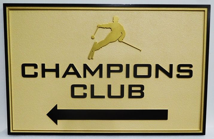 "M22240 - Carved 2.5-D HDU  Sign  for the ""Champions Club""  with Raised Text, a Double Border, and a Silhouette of a Skier"