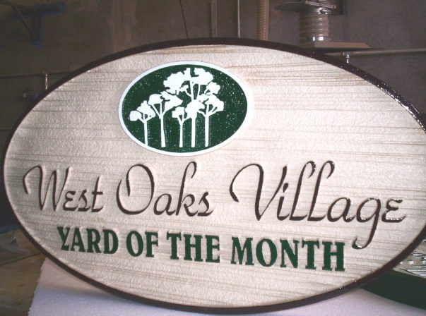 KA20915 - Carved and Sandblasted HDU Yard-of-the-Month Sign for West Oaks Village Home Owners'  Association with Forest Artwork