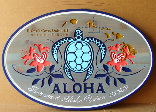 "L21664  – Carved and Engraved  Cedar ""Aloha"" Welcome and Address Sign in Hawaii, with Sea Turtle, Island Map, and Hibiscus Flower Blossoms"