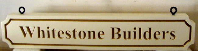 """SA28771 - Carved Sign with Engraved Text and Borders for """"Whitestone Builders""""  Company"""