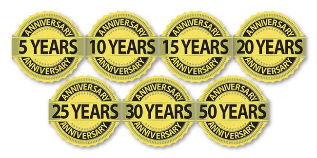 Anniversary stickers