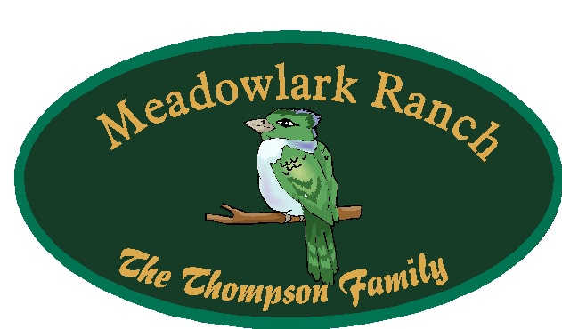 "M22818 - Design of Carved Wood or HDU Family Address Sign ""Meadowlark Ranch"" with Carved Meadowlark"