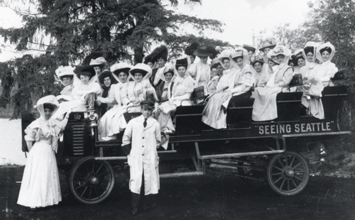 "Women enjoying the ""Seeing Seattle"" open-air tour c1910"