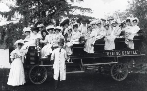 """Women enjoying the """"Seeing Seattle"""" open-air tour c1910"""