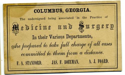 Stanford, Bozeman, Foard business card, ca. 1870