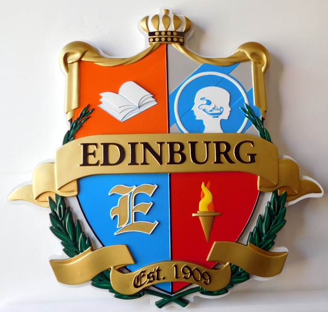 XP-1230 - Carved Plaque of Coat-of-Arms with Crown and Shield, Edinburg, Artist Painted