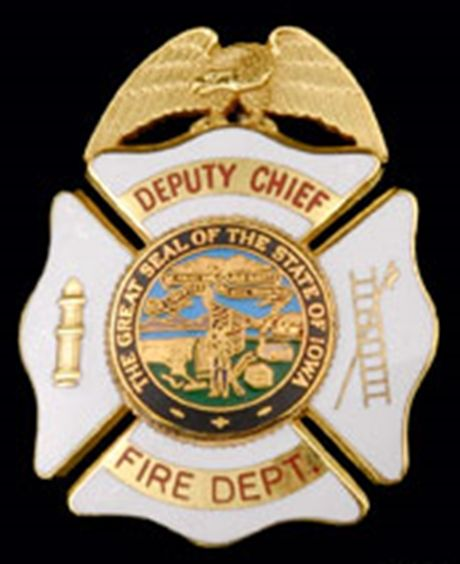 QP-1070 - Carved Wall Plaque of Badge of a  Fire Department,, Iowa, Artist Painted with Gold Leaf Gilding