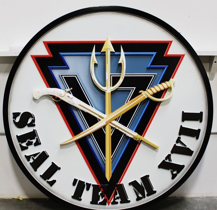 JP-1810 - Carved 3-D HDU Plaque of the Crest of SEALTeam VI, US Navy Special Warfare Command