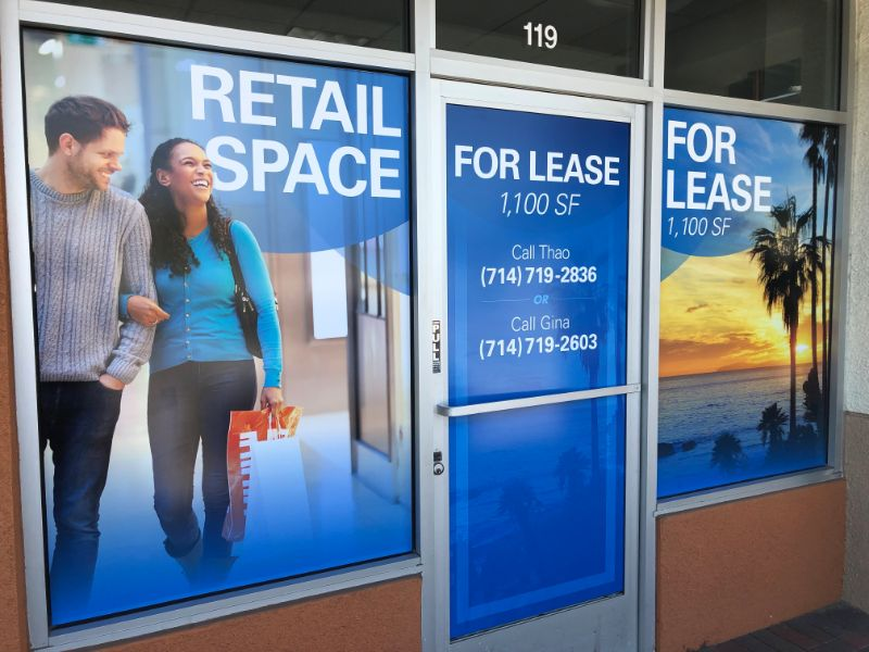 Commercial property for lease window graphics Garden Grove CA
