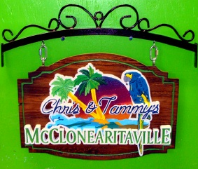 M2390 - Carved Tropical Bar Sign with Parrot