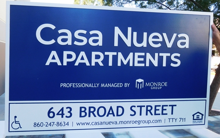 "K20330 - Carved & Engraved HDU Sign,  for the ""Casa Nueva "" Apartments"