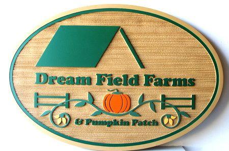 O24704 - Sandblasted HDU Farm Sign with Pumpkin and Barn, Dream Field Farms