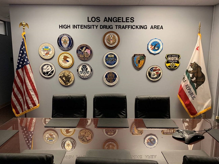 AP-2541 - Carved Wall Plaques of Organizations Associated with the the Los Angeles High-Intensity Drug Trafficking Area  (HITDA),  Drug Enforcement Administration