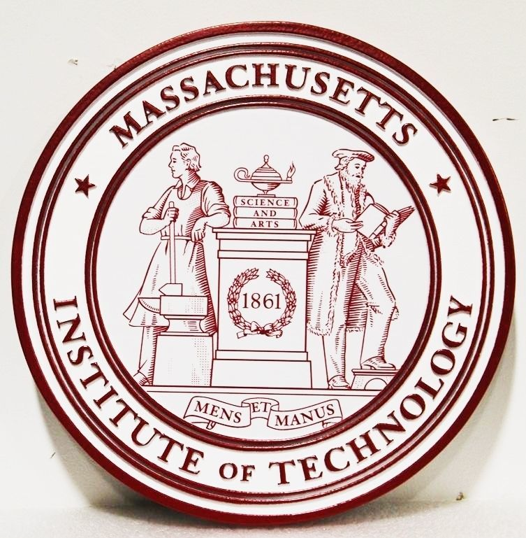 RP-1030 - Carved 2.5-D HDU Plaque of the Seal of the Massachusetts Institute of Technology (MIT)