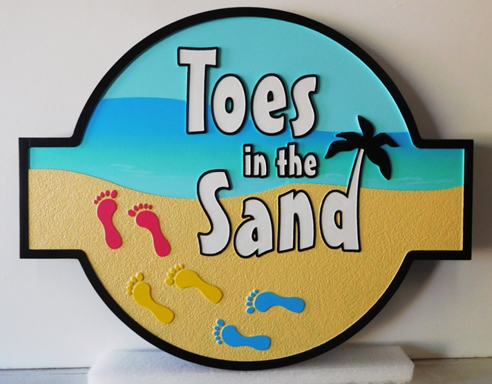 "L21082 - Beach House Property Name ""Toes in the Sand"" with Footbrints on Beach"
