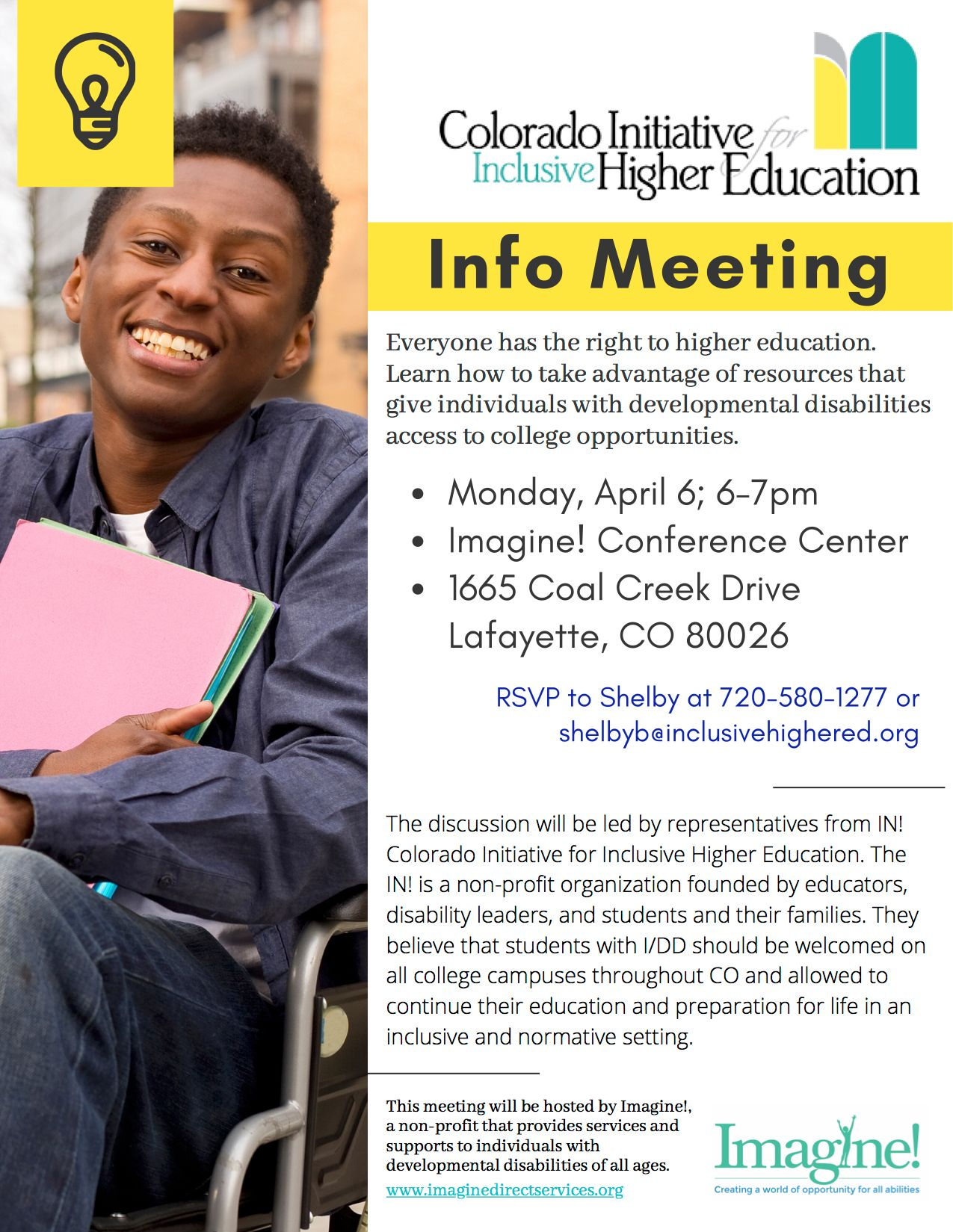 Imagine!, Inclusive Higher Education Info Meeting