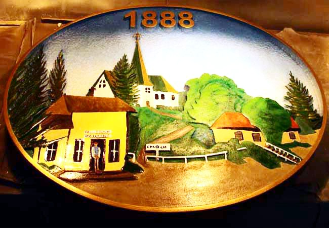 F15450 - Hand-Painted Ceramic Plaque of Pastoral Scene with Church which may be Reproduced in Carved Wood or HDU