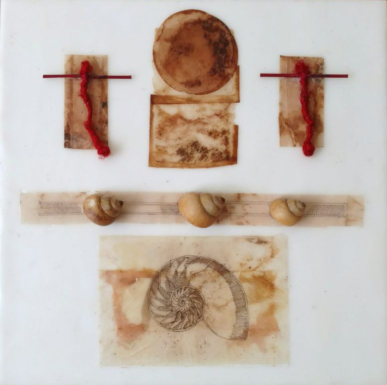 "The Golden Spiral, encaustic and mixed media on panel, 12"" x 12"""