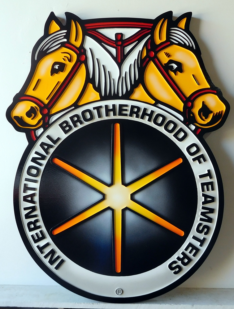 Z35334 -  Carved Wall Plaque of the emblem/logo for the International Brotherhood of Teamsters, with Two Horse's Heads as Artwork