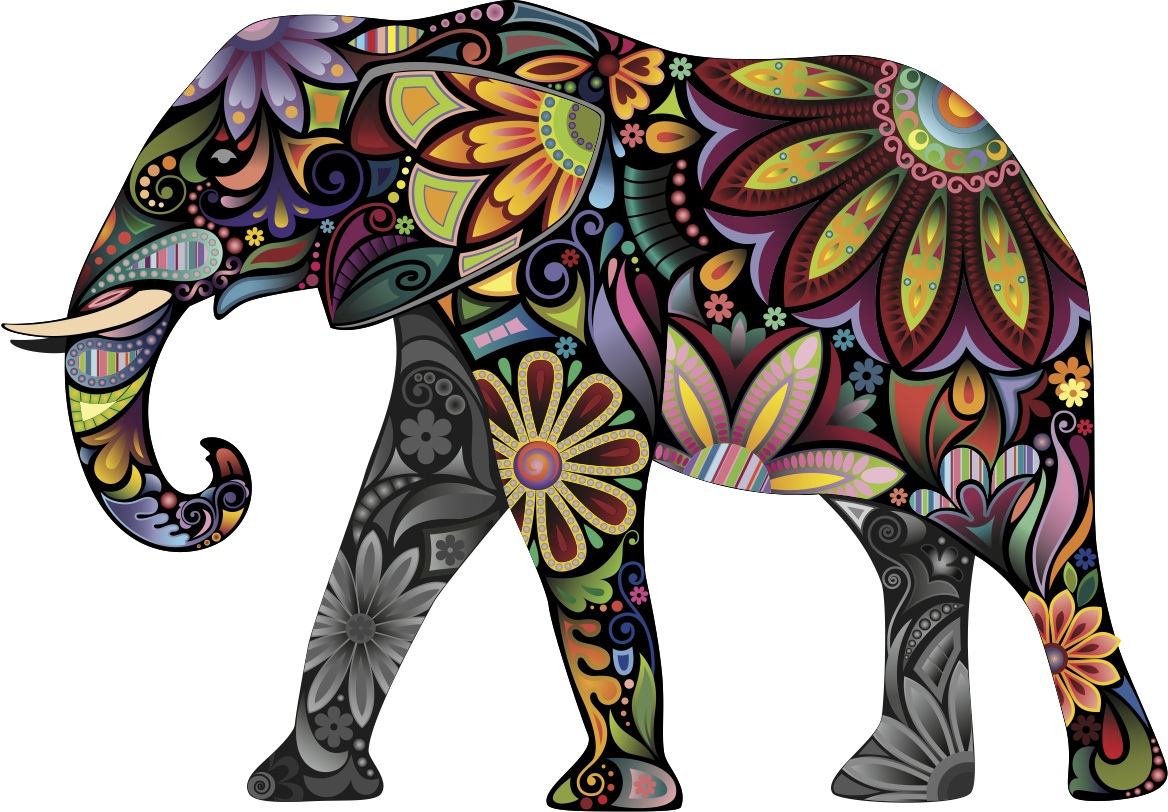 Colorful Elephant Cutout