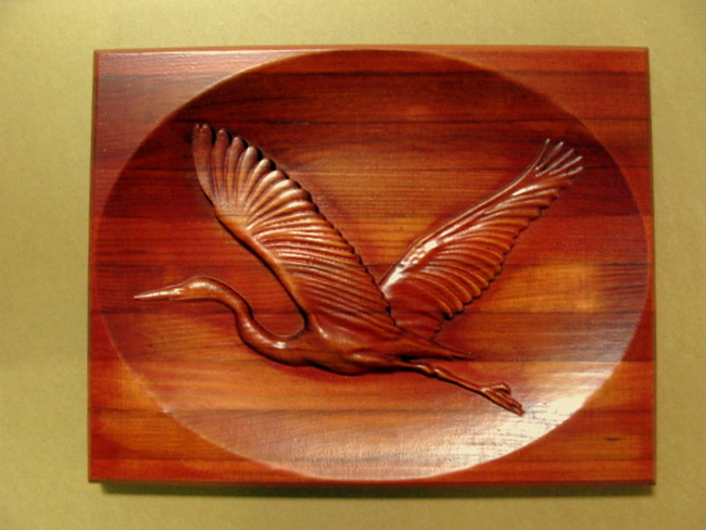 M22748 - 3-D Bas-Relief Carved Redwood Plaque with Blue Heron in Flight