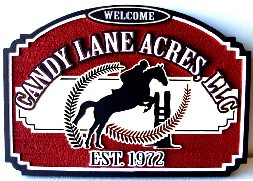P25012 - Wood Entrance Sign for Candy Lane Acres Equestrian Center