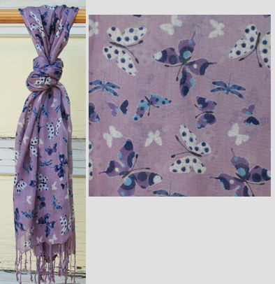 Butterfly Viscose Scarf with Fringe - Grape