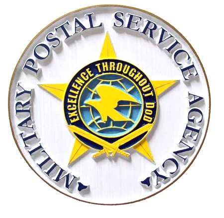 V31180 - DoD Postal Service Seal Carved Wood Wall Plaque